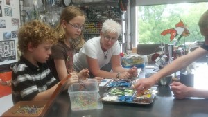 children learning fused glass technique