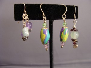 Two sets of student created earrings