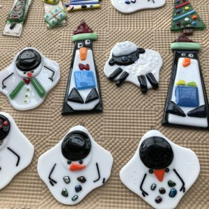 variety of fused glass ornaments