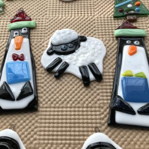 Lamb and Penguin fused glass ornaments